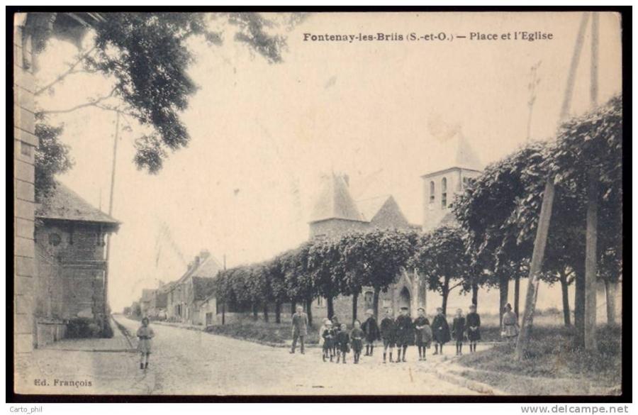 essonne-seine-et-oise-fontenay-les-briis-place-et-l-eglise-animee-groupe-d-enfants-ecoliers